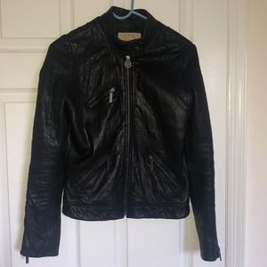 MICHAEL KORS LEATHER MOTO JACKET XS BLACK